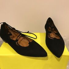 Les Autres black suede pointy ballerina shoes laces up the ankle IT 38 NEW