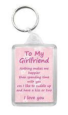 GIRLFRIEND Keyring Keyfob 'I Love You' Birthday Valentines Novelty Gift Keepsake