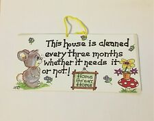 Humorous Fun Sign This House is Cleaned Novelty Wall Hanging
