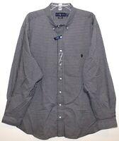 Polo Ralph Lauren Big & Tall Mens Black White Check Button-Front Shirt NWT XLT