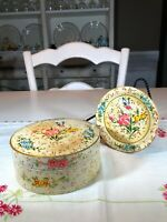 Vintage Paper Mache Set of 8 Coasters in Box Floral Motif Japan
