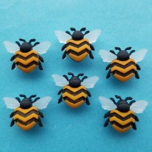 BEE HAPPY - Yellow Black Beehive Wings Bumble Insect Dress It Up Craft Buttons
