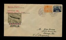 August 19 1929 TOKYO TOKIO JAPAN Purple Postmarks Zeppelin Day to Chicago IL USA