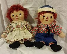 "1940-1944 Two Sided Face Sleep & Awake 13"" Raggedy Ann & Andy Cloth Doll Set"