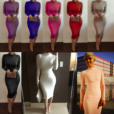Women Winter Long Sleeve Bodycon Midi Pencil Dress Evening Party Casual Cocktail