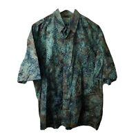 Vintage Mutiara Art Bali Mens Blue Cotton Short Sleeve Button Hawaiian Shirt XXL