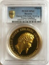 UNIQUE 1861 Bavaria Medal Gold Off-Metal Strike with Mint Engraving PCGS SP 62
