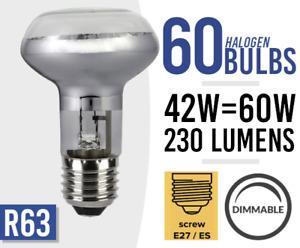 60x Dimmable Spot Light Bulb Halogen 240v 42W = 60Watt R63 E27 Bulbs BULK LOT 60