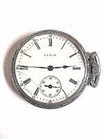 ELGIN Pocket Watch KEEPS TIME Silver Tone 17 Jewel Open Face