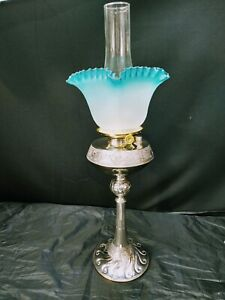 Antique Oil GWTW Banquet Silver Plated Oil Lamp Meriden Blue Glass Swirl Shade