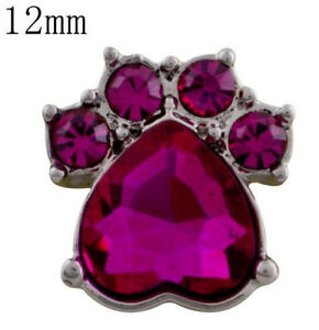 Silver Pink Rhinestone Paw 12mm Mini Snap Charm For Ginger Snaps Magnolia Vine