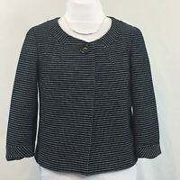 Talbots Cropped Womens Cotton Black And White Swing Jacket Blazer Size 8