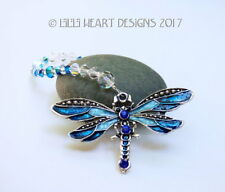 BLUE Enamel Dragonfly Swarovski Beads Car Charm Suncatcher Lilli Heart Designs