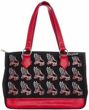 Sourpuss Flying Roller Skate Tote Bag Red - Rockabilly, Retro, Pin-up, Derby