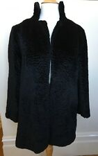 VINTAGE 60's Black Textured Astrakhan Faux Fur Long Sleeve Lined Winter Coat S
