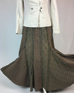 Per Una Maxi Skirt 10 Khaki Plaid Stripe Boho Steampunk Whitby Panelled Long