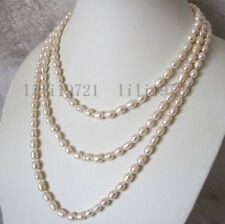 """Long 60"""" 7-8mm White Rice Freshwater Cultured Pearl Necklace"""