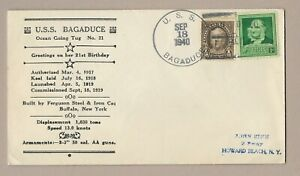 USA NAVAL COVER 1940 SHIP CANCEL USS BAGADUCE GREETINGS ON HER 21st