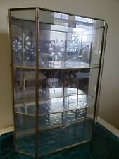"""Glass And Brass Mirrored Display Cabinet 3 Shelf 16"""" tall / Etched ☆ Lovely!"""