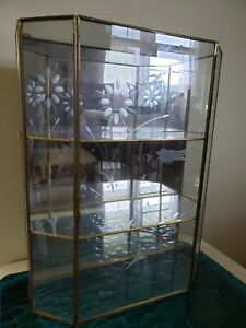 "Glass And Brass Mirrored Display Cabinet 3 Shelf 16"" tall / Etched ☆ Lovely!"
