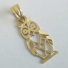 Solid Real 10k Yellow Gold good luck Owl Pendant Charm