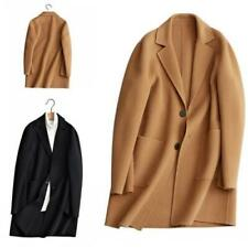 Men's Wool Jacket Trench Coat Cashmere Outwear Single Breasted Overcoat Casual L