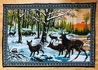 Vintage P&C Tapestry / Wall Hanging / Woven Buck / Deer / Snow Landscape