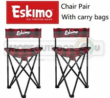 34789 Plaid Eskimo Ice Fishing Gear Folding Chair Pairs With Carry Bag Set of 2
