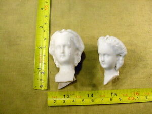 2 x excavated vintage lovely china doll head Kister age 1860 Germany Art 15892