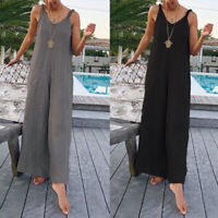 UK 8-24 Women Sexy Strappy V Neck Jumpsuits Playsuits Wide Leg Loose Pants Plus