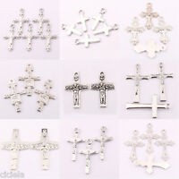 Lots 25/50Pcs Tibetan Silver Jesus Cross Charms Pendant Craft Jewelry Making DIY