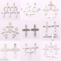 Lots 25/50Pcs Tibetan Silver Jesus Cross Charms Pendant Craft Jewelry Making DIY
