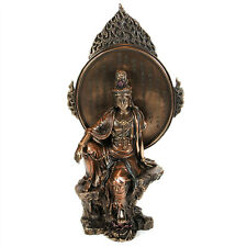 "KWAN YIN HEART SUTRA STATUE 9.5"" Bronze Resin HIGH QUALITY Royal Ease Water Moon"