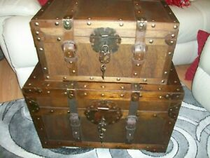 Rustic Western Set of 2 Trunks Chests