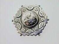 Antique Sterling Silver Flower Brooch Victorian 1887 4.21 Grams Flower Motifs