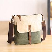 Vintage Water Resistant Wax Canvas Small Single Shoulder Bag Crossbody Messenger