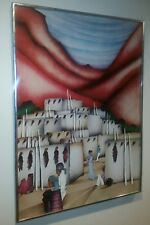 """1984 Amado Pena 21"""" x 29"""" Mixed Media Hand Signed Lithograph Painting"""