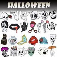Punk Skull Mermaid Enamel Brooch Pin Lapel Love Death Badges Halloween Jewellery