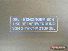 Puch Benzin gemisch Aufkleber weiß Deutsche Version