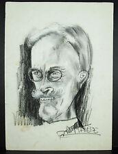 J M Thiere c 1980 dibujo retrato carbón de leña y resumen del gouache 45 cm