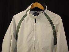 Nautica Mens Long Sleeve Full Zip Ivory Green Windbreaker M Golf Sport Casual