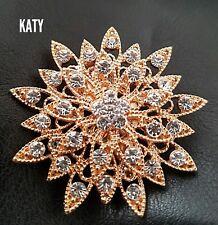 Rose Gold Tone Crystal Sun Flower BROOCH Pin Broach Badge Diamante Rhinestone