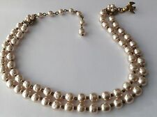 VINTAGE MIRIAM HASKELL SIGNED 2 STRAND BAROQUE PEARL NECKLACE DOVE HOOK