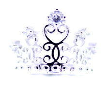 Silver tone cutout crown / tiara ring with crystal, UK Size P