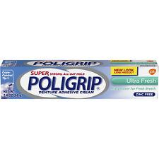 Super Poligrip Ultra Fresh Mint Flavor Zinc Free Denture Adhesive Cream 2.4 Oz.