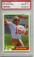 1981 Topps Football Joe Montana ROOKIE RC #216 PSA 8 NM-MT - 49'ers Fresh Grade
