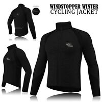 Mens Cycling Winter Windstopper Jacket Thermal Fleece Windproof Coat - All Black