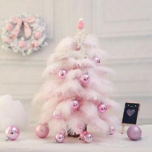 Mini Tree Pink Feather Christmas Decoration Cedar Desktop Tabletop Ornament