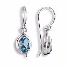 Exclusive Blautopas Blau Topas Ohrringe ECHT 925er Silber Hänger Design SER200