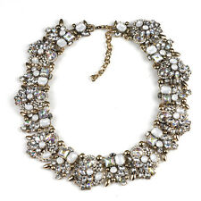 Zara Rhinestone Statement Necklace Bib collar UK White